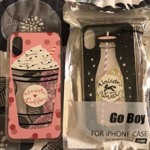 Accessories - Unicorn Water and Unicorn Coffee IPhone X cases